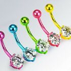 NEON CZ Circle Titanium Anodized Belly Bar Navel Piercing 316L S/Steel new (B32)