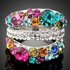 18k White Gold GP Multi colorful shining Swarovski Crystals  Cocktail Rings