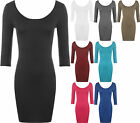 Ladies Plus Size Bodycon Dress Womens Stretch Scoop Neck Back Sleeve Top 16 - 20