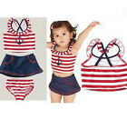Girl Sailor Swimwear Swimsuit Bathers Bikini Tankini 1-9Y Swiming Costume Gift