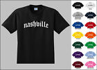 City of Nashville Old English Font Vintage Style Letters T-shirt
