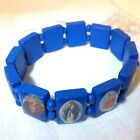ICON RELIGIOUS STRETCH BRACELET VARIOUS COLOURS, BLUE PINK GREEN YELLOW RED ETC