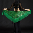 Q0435# Shimmer Sequins FringeTriangle Belly Dance Hip Scarf Belt 10 Colors