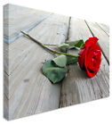 Red Rose On Wood Floral Flower CANVAS Wall Art Picture ANY SIZE