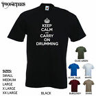 'Keep Calm and Carry On Drumming'  - Funny men's T-shirt. S-XXL.