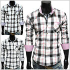 (CHS5) THELEES Mens Casual Long Sleeve Stripe Patch BIG Checker Shirts