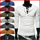 (DK12) THELEES Mens casual Slim fit Stylish Button point Long Sleeve Tshirts