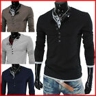 (VT09) THELEES Mens Casual Long Sleeve Layered Style Button Tshirts