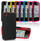 NEW STYLISH DUAL COLOUR SERIES CASE COVER FITS IPHONE 4 4S FREE SCREEN PROTECTOR