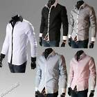 Korean Style Button-Down Long Sleeve Slim Mens T Shirts Top Casual Career Blouse