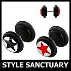 Fake Flesh Plug Black Acrylic Star Earring Ear Stretcher Piercing Stud 8mm NEW