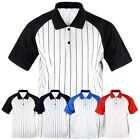 ililily New Mens Collar Stripe Baseball Raglan T-shirts Casual Tee Jersey 004