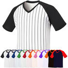 ililily New Mens Baseball Raglan Unisex T-shirts Stripe Casual Tee V-neck 005