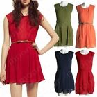 Fashion Women's Bowknot Chiffon Round neck Casual Slim Pleated Tunic Mini Dress