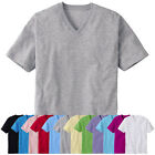 ililily New Mens Solid Color V Neck T-shirts Basic Casual Tee M~L~XL~2XL nwt 017