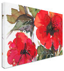 Water Colour Poppy Poppies - Canvas Wall Art Pictures For Home Interiors