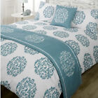 Serenade Teal Green White Patterned Bed in a  Bag Duvet Quilt Cover Bedding Set
