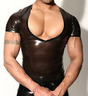 MENS RUBBER DEEP V NECK T SHIRT