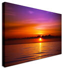 Large Sunset Seascape Violet Skyline Canvas Pictures Wall Art Prints