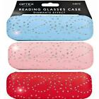 READING GLASSES HARD CASE PROTECTION SPARKELS PINK RED BLUE SOFT INSIDE NEW