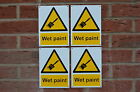 4 X Wet Paint Warning / Health & Safety A5 Sticker Plastic & Drilled Sign
