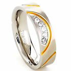6mm Titanium Ring Clear Round Cubic Zirconia Men's Silver & Gold IP Wedding Band