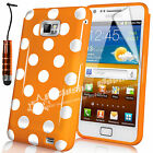STYLISH POLKA DOTS CASE COVER FITS SAMSUNG GALAXY S2 i9100 FREE SCREEN PROTECTOR