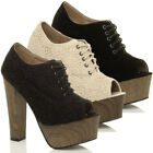 WOMENS LADIES HIGH BLOCK HEEL PLATFORM LACE UP ANKLE SHOE BOOTS BOOTIES SIZE