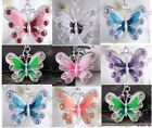 Beautiful acrylic crystal butterfly alloy necklace pendant 7colors U pick