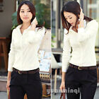 Fashion Women Long Sleeve White Business Work Wear Office Top Blouse Shirt S M L