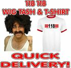 118 118 Fancy Dress 3 Piece Costume Set including Wig Tash and Red Trim  T-Shirt