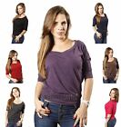 New Chic Boat Round Neck Knit 3/4 Sleeve Loose Casual Fit Slouchy Tee Shirt Top