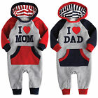 "NWT Vaenait Baby Newborn Fleece Jumpsuit Onepiece Bodysuit ""Hoodie ♥ Mom Dad"""