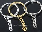 10pcs silver/golden/dark silver Round keychain charm beads cards findings