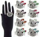 NEW COSTUME JEWELRY FASHION RING Adjustable One Size DIAMANTE HELLO KITTY