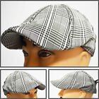 NEW CRUSHABLE DUCK BILL NEWSBOY  IVY DRIVER GOLF CASUAL HAT CAP BLK&GY PLAID3607