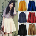 Sexy Women Retro High waist Pleated double layer chiffon Short Mini Skirt Dress