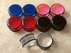 """5 PAIR SET Red, Clear, Black, Blue, Pink Acrylic Plugs 5/8"""", 3/4"""", 7/8 or 1"""""""