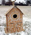 Rustic Recycled Metal Birdhouse Tin Shelter for Feathered Friends Yard Decor
