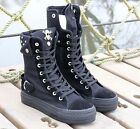 Chunky Skull Canvas Lace Up High Top Studs Buckle Flat Sneaker Ankle Boots Shoes