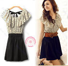 Hot Summer Women Short Sleeve Chiffon Dots Polka Waist Top Mini Dres Size S M L