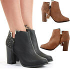 Ladies Block Shoes Heeled Booties Mid Heel Ankle Boots Size