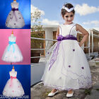 Flower Girl Tulle Dress Petticoat Wedding Bridesmaid White Purple 18m-11y #220A