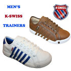 MEN'S BROWN & WHITE NEWPORT K-SWISS LACE UP TRAINERS RUNNUING SHOES SIZES 7-10.5