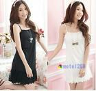 New Womens Basic Lace Cotton Slim Sleeveless Net Petticoat Shirt Skirt Dress M00