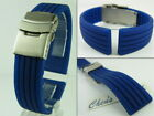 HQ 18mm~22mm BLUE RUBBER WATCH BAND,18 20 22 MM STRAP W/ S.S DEPLOYMENT BUCKLE