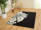 MED - EXTRA LARGE BLACK NEXT TO CREAM WHITE  FLOWER PETAL NON-SHEDDING PILE RUG