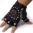 Hot Punk Mens Boys PU Leather Black Cross Nail DRIVING MOTORCYCLE Gloves(1 PAIR)