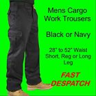 Mens Combat Cargo Work Trousers Black or Navy Size 28 to 52 Short , Reg or Long