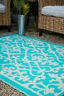 Venice Cream & Turquoise Indoor & Outdoor Rugs Mats - Many Sizes, Recycle Green